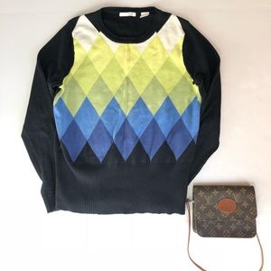 Liz Golf Black & Blue Diamond Argyle Knit Sweater